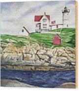Maine Lighthouse Watercolor Wood Print