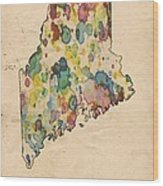 Maine Map Vintage Watercolor Wood Print