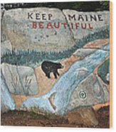 Maine Rock Painting Wood Print