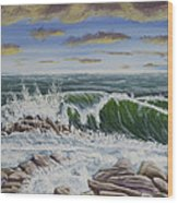Crashing Waves At Pemaquid Point Maine Wood Print