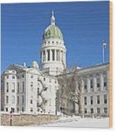 Maine State Capitol Building In Winter Augusta Wood Print