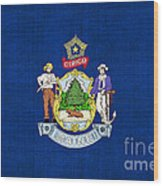 Maine State Flag Wood Print by Pixel Chimp