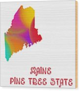 Maine State Map Collection 2 Wood Print