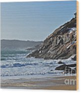 Maine Surfing Scene Wood Print by Meandering Photography