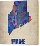 Maine Watercolor Map Wood Print