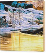 Maine Winter Along The Androscoggin River Wood Print