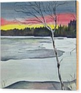 Maine Winter Sunset Wood Print