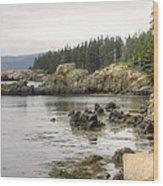 Maine's Beautiful Rocky Shore Wood Print