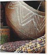 Pottery And Maize Indian Corn Still Life In New Orleans Louisiana Wood Print