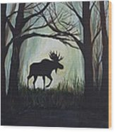 Majestic Bull Moose Wood Print