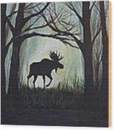 Majestic Bull Moose Wood Print by Leslie Allen