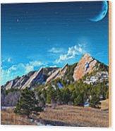 Majestic Flatirons Of Boulder Colorado With Big Moon Wood Print