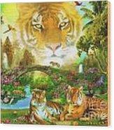 Majestic Tiger Grotto Wood Print