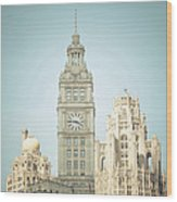 Majestic Vintage Buildings Chicago Wood Print
