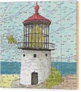 Makapuu Lighthouse Oahu Hi Nautical Chart Map Art Wood Print