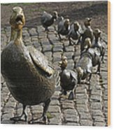 Make Way For Ducklings Wood Print by Juergen Roth