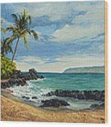 Makena Beach Wood Print