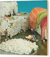 Making Sushi Little People On Food Wood Print