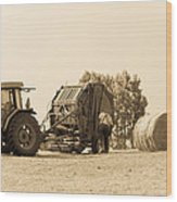 Farm - Tractor - Hay - Making The Drop Wood Print
