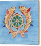 Makya Golden Fish Wood Print
