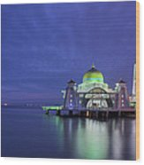 Malacca Straits Mosque At Blue Hour Wood Print