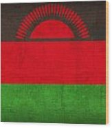 Malawi Flag Vintage Distressed Finish Wood Print