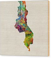Malawi Watercolor Map Wood Print by Michael Tompsett