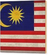Malaysia Flag Vintage Distressed Finish Wood Print