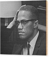 Malcolm X 1964 Wood Print