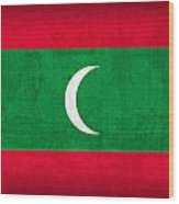 Maldives Flag Vintage Distressed Finish Wood Print