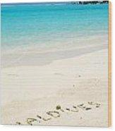 Maldives Written In A Sandy Tropical Beach Wood Print