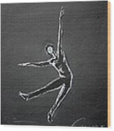Male Dancer In White Lines On Black Wood Print