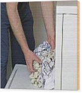 Male Doing Laundry Wood Print