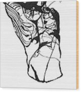 Male Figure Abstraction Wood Print