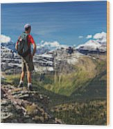 Male Hiker Standing On Top Of Mountain Wood Print