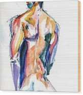 Male Nude Back Torso Wood Print