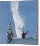 Male Snowboarder Throwing Powder Wood Print