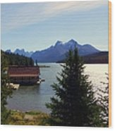 Maligne Lake Boathouse Wood Print by Karen Wiles