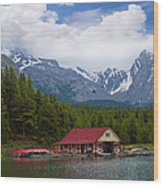 Maligne Lake In The Canadian Rockies Wood Print