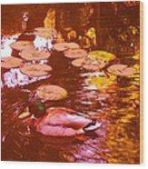 Mallard Duck On Pond 3 Square Wood Print