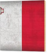 Malta Flag Vintage Distressed Finish Wood Print