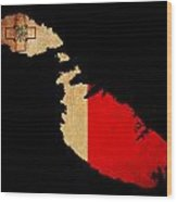 Malta Grunge Map Outline With Flag Wood Print