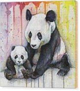 Panda Watercolor Mom And Baby Wood Print