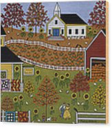 Mama's Quilts And Papa's Pumpkins Wood Print