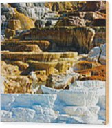 Mammoth Hot Springs Rock Formation No1 Wood Print