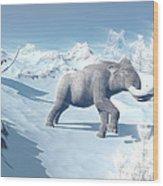 Mammoths Walking Slowly On The Snowy Wood Print