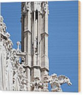 Man And Dragon Gargoyles With Tower Duomo Di Milano Italia Wood Print