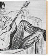 Man And Guitar Wood Print