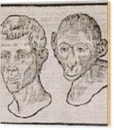 Man And Monkey's Head Wood Print