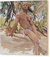 Man And Trees. Florida Wood Print